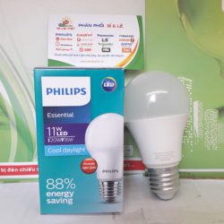 Bóng Led Bulb Essential 11W Philips E27 A60 G4 tiết kiệm điện 88%