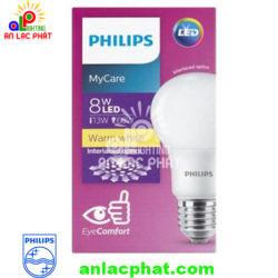 Đèn Led tròn MyCare Philips 8W E27 1CT/12 APR êm dịu cho mắt