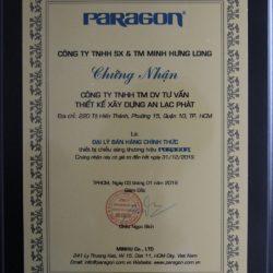giấy chứng nhận đại lý paragon thiết bị điện An Lạc Phát