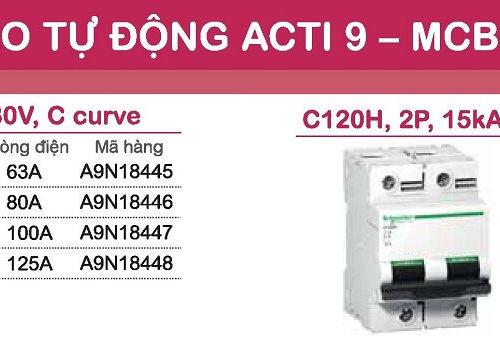 aptomat schneider mcb schneider acti9 C120H 1 pha và 2 pha