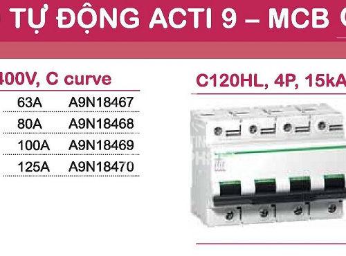aptomat schneider mcb schneider acti9 C120H 3 pha và 4 pha