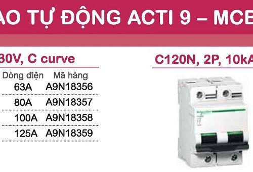aptomat schneider mcb schneider acti9 C120N 1 pha và 2 pha