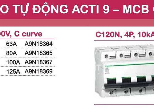 aptomat schneider mcb schneider acti9 C120N 3 pha và 4 pha