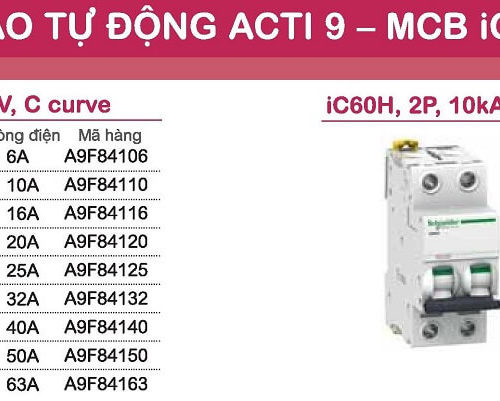 aptomat schneider mcb schneider acti9 iC60H 1 pha và 2 pha