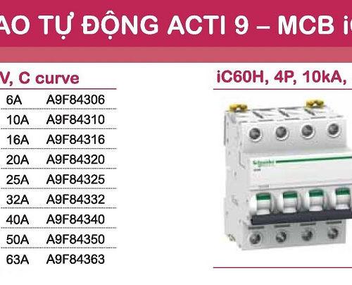 aptomat schneider mcb schneider acti9 iC60H 3 pha và 4 pha