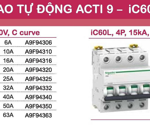 aptomat schneider mcb schneider acti9 iC60L 3 pha và 4 pha