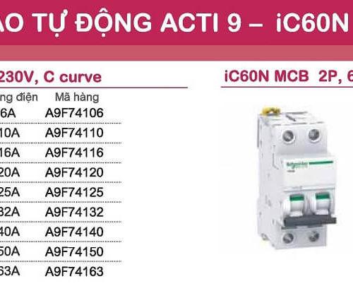 aptomat schneider mcb schneider acti9 iC60N 1 pha và 2 pha