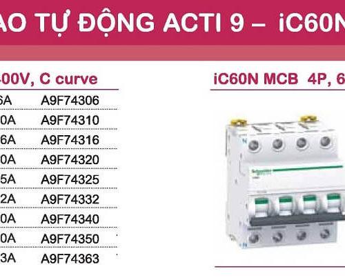 aptomat schneider mcb schneider acti9 iC60N 3 pha và 4 pha