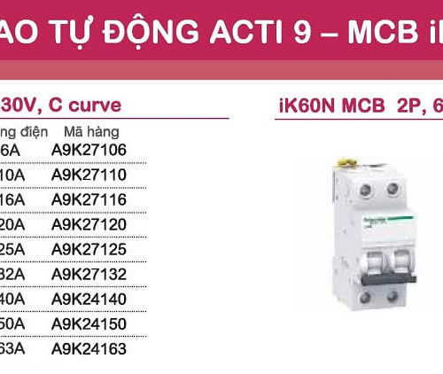 aptomat schneider mcb schneider acti9 iK60N 1 pha và 2 pha