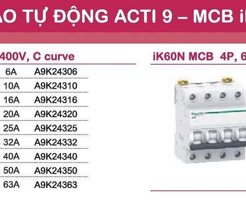aptomat schneider mcb schneider acti9 iK60N 3 pha và 4 pha