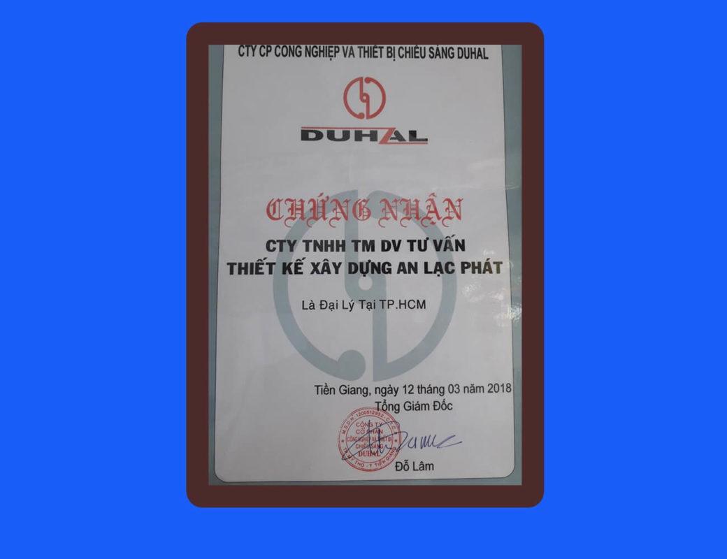 Giấy chứng nhận Duhal 2018