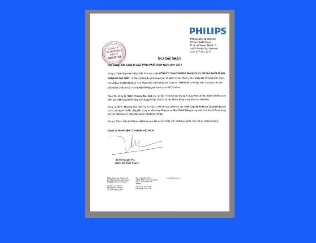 Thư xác nhận Philips 2017